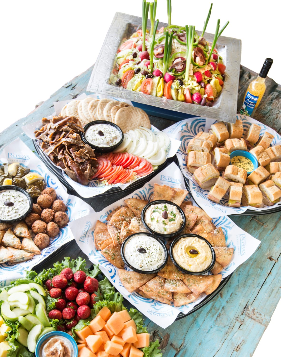 Greek Salad, Pita Platter, Cuban Platter, Trio of Spreads, Greek Meze and Fruit and Yogurt Tray