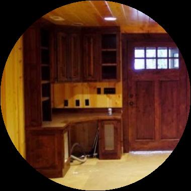 Alder Cabinets & Door with Pine Paneling